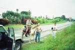 Tato z Kropką zakończyli swoją wspólną podróż w Kolumbii, w mieście Pereira. Na zdjęciu stoją ze spotkanym w drodze Kolumbijczykiem – Diego Castaño, który zaprosił ich do siebie w Pereira w lutym 1997 roku. Z braku możliwości przetransportowania Kropki do Panamy, Tato postanowił zostawić ją u Diego do hodowli. U państwa Castaño spędził 4 dni.