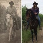 Zdjęcie Taty pochodzi z lokalnej gazety z Pereiry, opublikowanej po jego wyjeździe z Kolumbii (luty 1997). Zostało zrobione na ranczo Diego. Tak samo jak to, na którym jestem ja (maj 2019). Elementami łączącymi te dwie fotografie jest miejsce ich zrobienia oraz kapelusz. Państwo Castaño zachowali go na pamiątkę i po 22 latach dalej go mają.